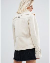 Pepe Jeans - Multicolor Ginna Exposed Faux Shearling Biker Jacket - Lyst