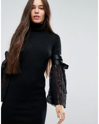 ASOS - Black Knitted Dress With Woven Lace Sleeve - Lyst