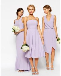 ASOS | Purple Wedding Bandeau Midi Dress | Lyst