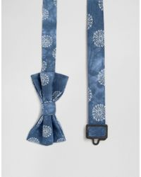ASOS - Bow Tie With Flower Design In Blue Wash Effect for Men - Lyst