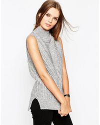 ASOS | Gray Sleeveless Jumper In Chunky Knit With High Neck | Lyst