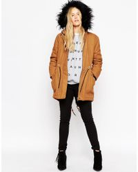 ASOS | Brown Parka In Cocoon Fit | Lyst