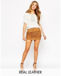 Mango | Brown Suede Fringe Skirt | Lyst