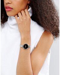 ASOS - Metallic Shoulder Detail Silver Mesh Strap Watch - Lyst