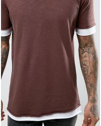 ASOS - Brown Longline T-shirt In Textured Fabric With Raw Scoop Neck And Layered Cuff for Men - Lyst