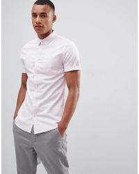 5b2760fab New Look Muscle Fit Oxford Shirt In Light Pink in Pink for Men - Lyst