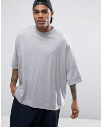 ASOS | Gray Extreme Oversized Slouchy T-shirt With Curved Hem In Grey Marl for Men | Lyst
