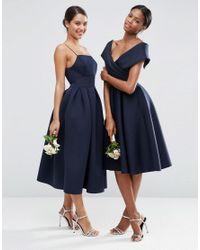 ASOS - Multicolor Wedding Scuba Off The Shoulder Midi Prom Dress - Lyst