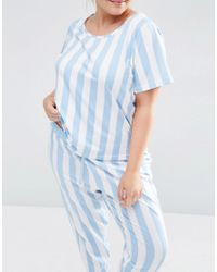 ASOS - Blue Curve Deckchair Stripe T-shirt And Trouser Pyjama Set - Lyst