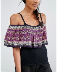 Anna Sui | Purple Off Shoulder Tank Top With Printed Ruffle | Lyst