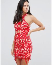 Love Triangle - Red Lace Pencil Dress - Lyst