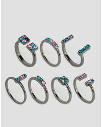 Lipsy - Gray Multi Pack Rings - Lyst