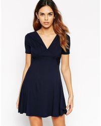 ASOS | Blue Skater Dress With Ruched Bust Detail | Lyst
