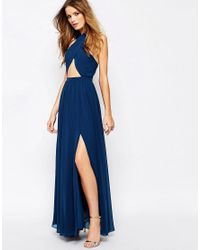 Fame & Partners | Blue Wired Cross Pleated Wrap Front Maxi Dress | Lyst