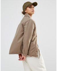 Daisy Street - Green Lightweight Jacket With Contrast Lining & Zip Detail - Lyst