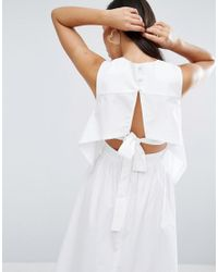 ASOS - White Cotton Dress With Open Back And Tie Detail - Lyst