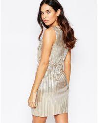 Oh My Love - Wrap Over Pleated Metallic Mini Dress - Lyst
