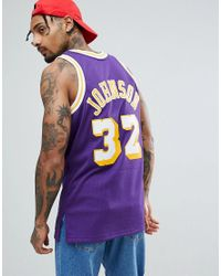 Mitchell & Ness - Nba Lakers Magic Johnson Swingman Singlet In Purple for Men - Lyst