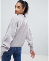 Boohoo - High Neck Cable Knit Sweater In Space Gray - Lyst