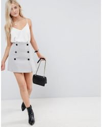 ASOS DESIGN - Gray Asos Double Breasted Mini Skirt - Lyst