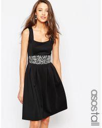 ASOS | Black Tall Debutante Embellished Trim Full Midi Dress | Lyst