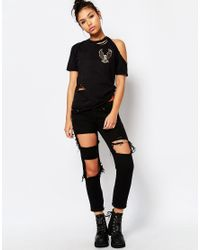 The Ragged Priest - Black Distressed Boyfriend Tshirt With Eagle Patch - Lyst