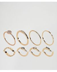 ASOS - Metallic Pack Of 8 Simple Fine Rings - Lyst