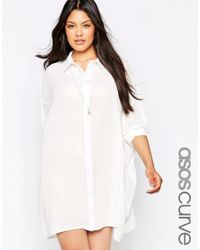 ASOS   White Curve Oversized Longline Blouse   Lyst