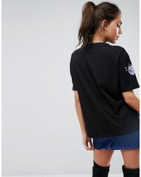 ASOS - Black Asos T-shirt With Pretty Embroidery - Lyst
