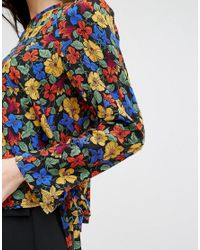 Mango - Multicolor Floral Tie Sleeve Blouse - Lyst