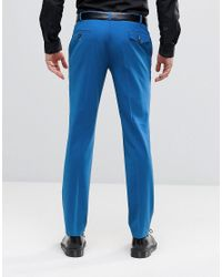 Noose And Monkey - Blue Super Skinny Suit Trousers With Stretch for Men - Lyst