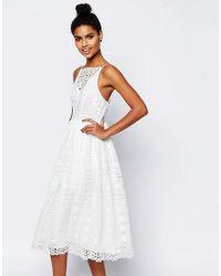 ASOS - White Premium Occasion Midi Dress In Geo Lace - Lyst