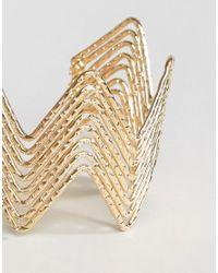 Ashiana | Metallic Zig Zag Chunky Cuff Bracelet | Lyst