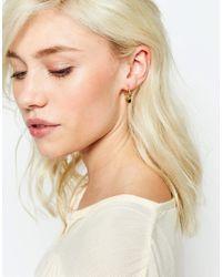 Ottoman Hands - Metallic Black Stone Hoop Earrings - Gold - Lyst