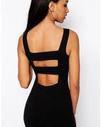 ASOS | Black Strap Back Pini Bodycon Midi Dress | Lyst