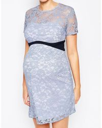 ASOS - Orange Maternity Lace Bodycon Dress With Contrast Waistband - Lyst