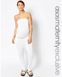 ASOS | White Maternity Bandeau Beach Jumpsuit With Peg Trouser | Lyst