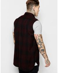 ASOS - Red Sleeveless Shirt In Longline for Men - Lyst
