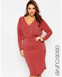 ASOS - Pink Curve Plunge Dress In Crepe With Folded Bodice - Lyst