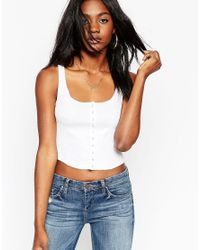 ASOS | White Vest Top With Popper Placket | Lyst