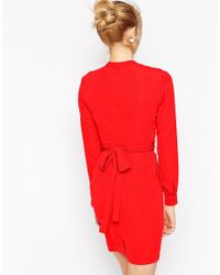 ASOS - Red Tulip Dress With Wrap Belt - Lyst
