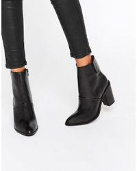 ASOS - Black Effie Leather Ankle Boots - Lyst