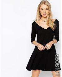 ASOS | Black Tall Skater Dress With V Front And V Back | Lyst