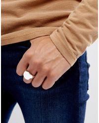 ASOS - Metallic Signet Ring In Silver for Men - Lyst
