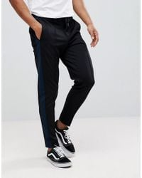 SELECTED - Black Tapered Pants With Stripe for Men - Lyst