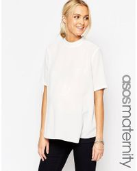 ASOS | Natural Maternity T-shirt With High Neck And Split Back | Lyst