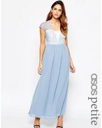 ASOS | Blue Petite Scalloped Lace Maxi Dress | Lyst