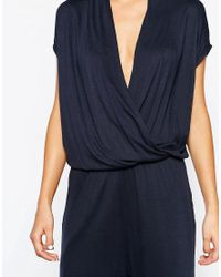 SELECTED - Blue Silla Wrap Front Jersey Jumpsuit - Lyst