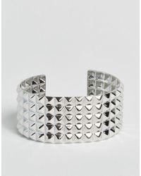 ASOS - Metallic Limited Edition Stud Cuff Bracelet - Rhodium - Lyst