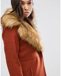ASOS - Coat With Oversized Faux Fur Collar - Orange - Lyst